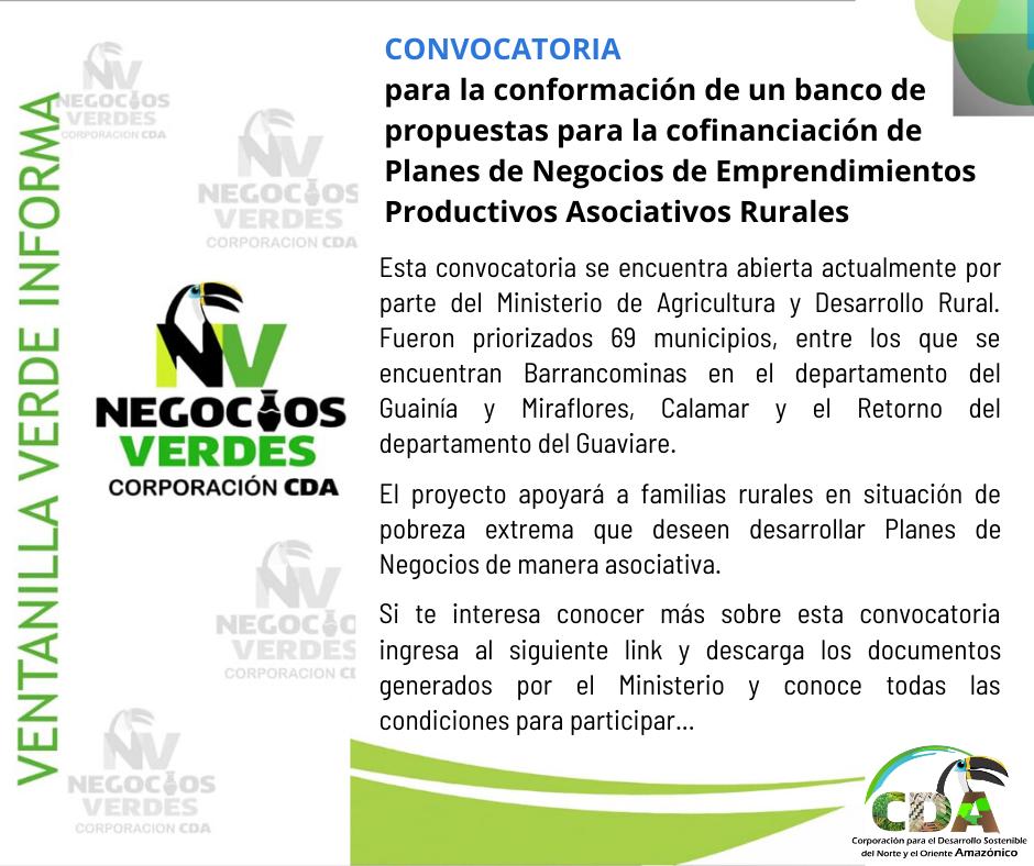 imagen alusiva a  CONVOCATORIA: Planes de Negocios de Emprendimientos Productivos Asociativos Rurales