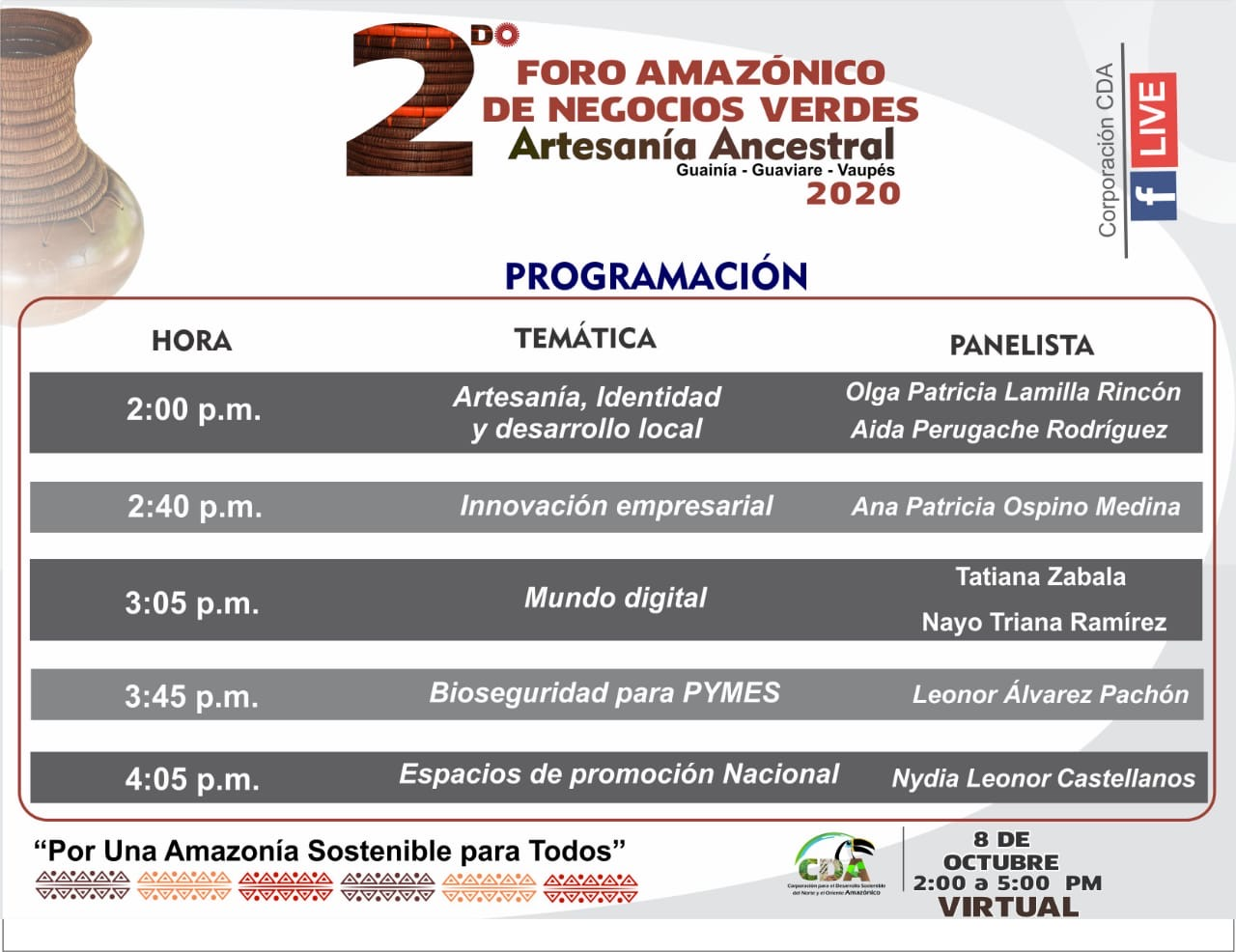 """imagen alusiva a  2do Foro Amazónico de Negocios Verdes """"Artesanía Ancestral"""" Guainía – Guaviare – Vaupés"""